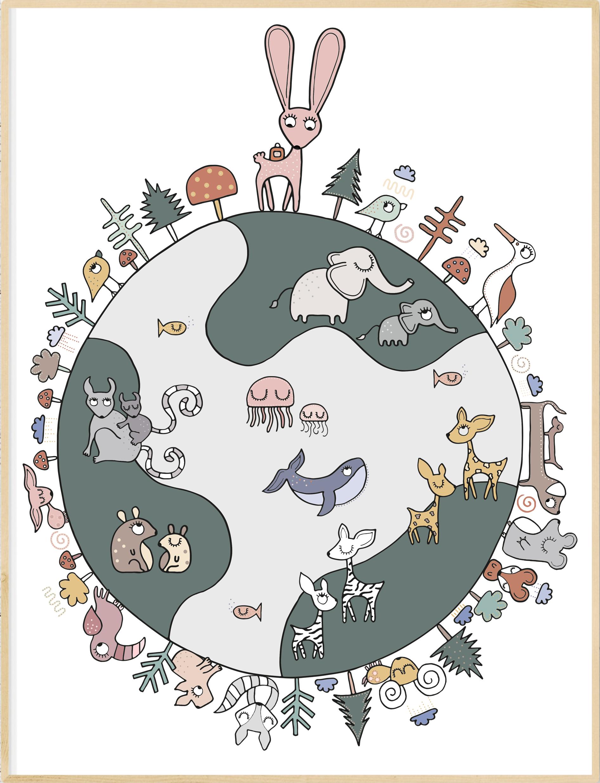 A4 Poster - Kleurrijke wereldbol